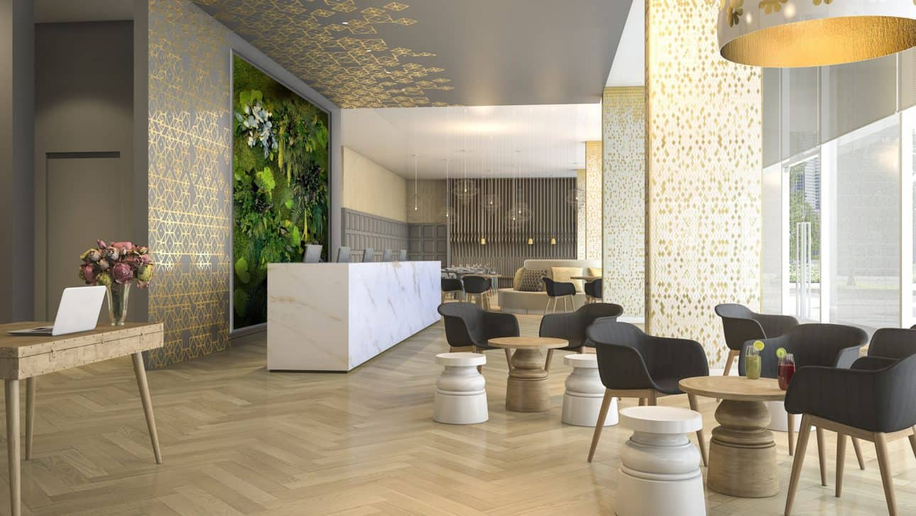 Mooswand im Shop - Cafe lounge mit NATURADOR® Pflanzeninseln