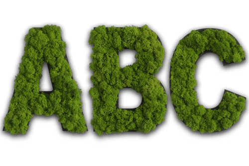 Piktogramm Islandmoos maigrün Buchstabe ABC