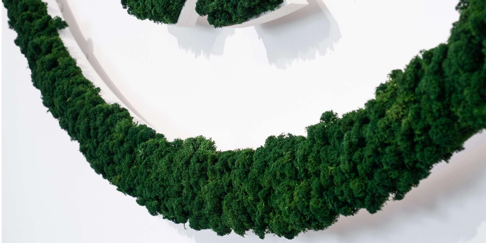 Logo aus Moos - NATURADOR® konturgefrästes Logo weiß mit blattgrünem Islandmoos