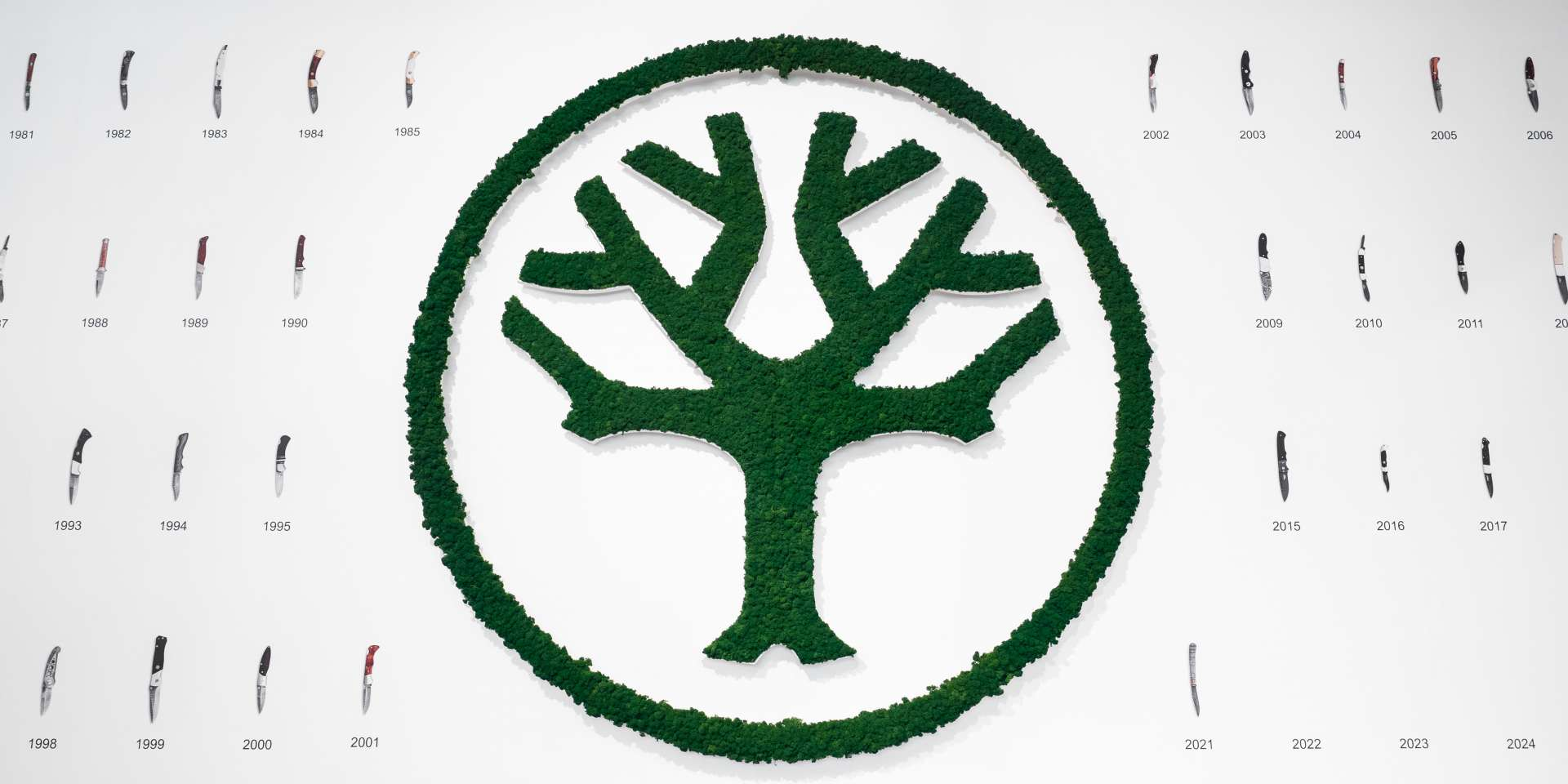 Mooslogo NATURADOR: Logo konturgefräster Baum begrünt mit blattgrünem Islandmoos