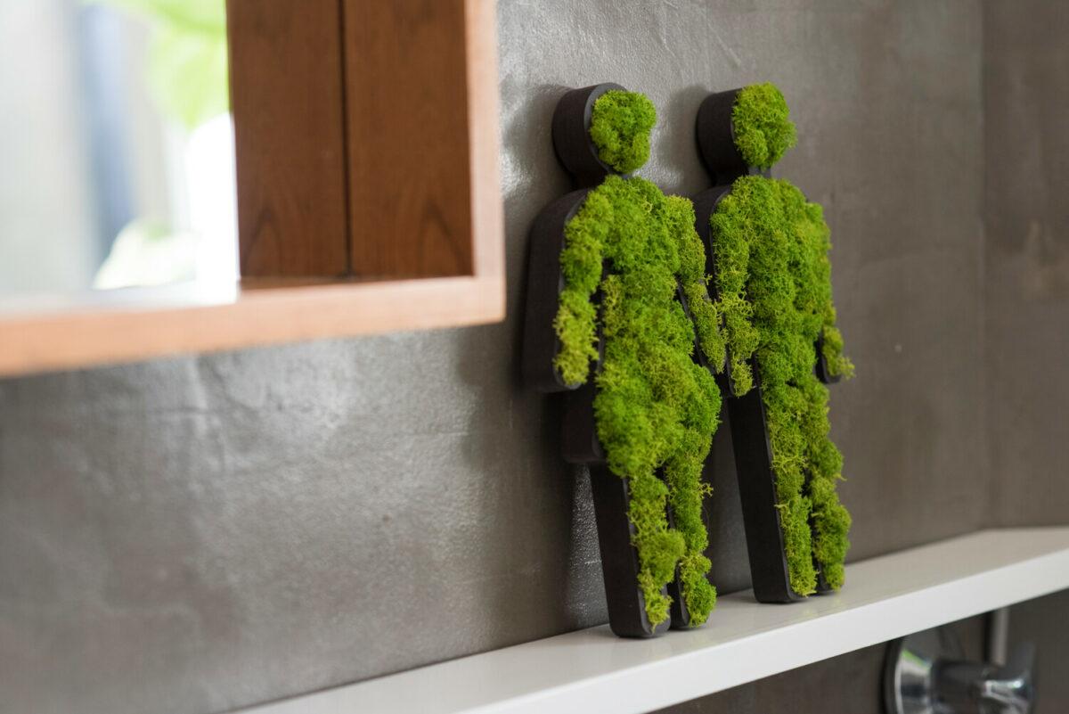 Piktogramm Islandmoos maigrün Toilettenset Mann und Frau